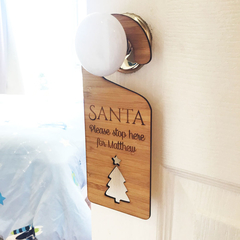 Personalised Bamboo Christmas Door Hanger - Santa Please Stop Here - Tree