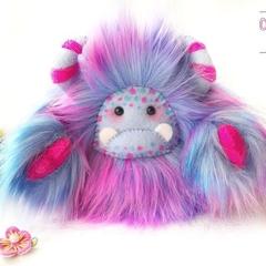 "Yeti artist bear, faux fur rainbow blue monster plush ""Twinkle"""