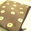 BUSHFIRES Purse Brown cream spot with green flowers and green wool back, lined