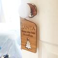 Personalised Bamboo Christmas Door Hanger - Santa Please Stop Here - Tree