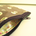 Purse Brown cream spot with green flowers and green wool back, lined