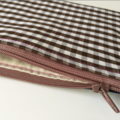 BUSHFIRES Brown and white gingham lined denim purse with pink stitching