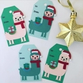 Christmas Llama Alpaca Tag - 4 pieces.  Handmade xmas  gift wrapping - free post
