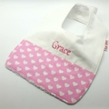 Baby Bib Personalised, Hearts on Cotton Fabric, Bamboo Toweling.