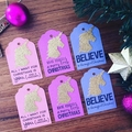 Christmas Unicorn Tag - 6 pieces.  Handmade xmas  gift wrapping - free post