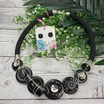 Black and Silver - Twist - Button Fusion Necklace - Button Jewellery - Earrings
