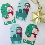 Christmas Llama Alpaca Tag - 4 pieces.  Handmade xmas  gift wrapping - free post
