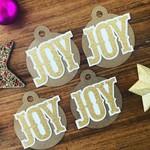 Christmas JOY Tag - 4 pieces.  Handmade xmas  gift wrapping - free post