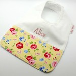 Baby Toddler Bib Personalised, Little Flowers on Cotton Fabric, Bamboo Toweling.
