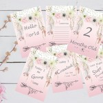 Baby Milestone Cards, Boho, Girls, Baby Shower Gift, New Mum, Photo Prop