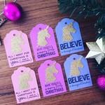 Christmas Unicorn Tag - 6 pieces.  Handmade xmas  gift wrapping - free post