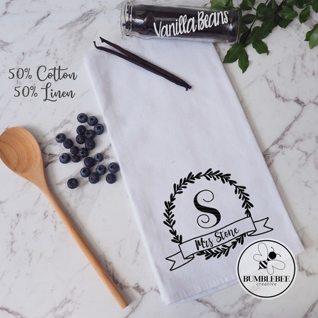 Monogrammed Teacher Tea Towel Family Name -  Linen Cotton Blend