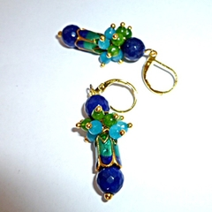Sapphires,Chalcedony,Peridot earrings