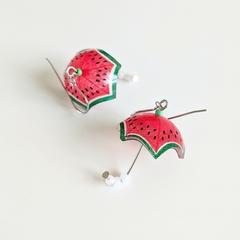 Watermelon Umbrella Drop Earrings (Red) - Handmade Kawaii Brollies