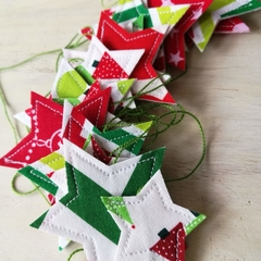 Christmas Star Garland - fabric bunting banner stars on string
