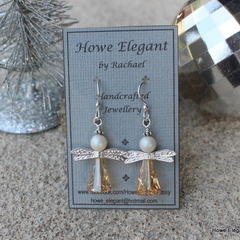 Swarovski gold angels, Sterling Silver, dangle earring
