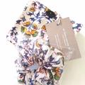 foldable eco bag + scrunchie  set / WHITE - flower / gift for mum / gift set