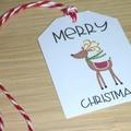 10 Merry Christmas gift tags - festive reindeer