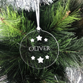 Personalised Name Christmas Ornament - Bamboo or clear Acrylic