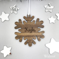 Personalised Name Snowflake Christmas Ornament - Solid wood or Silver