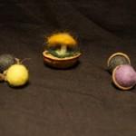 Needle felted acorns and walnut shell mushroom 2
