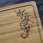 Wood Burnt Seahorse Bamboo Cutting Board