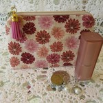 Coin Purse - Cream with Dusty Pink Flowers