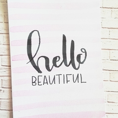 Baby Shower Card || Hello beautiful, pink stripes, watercolour, newborn card