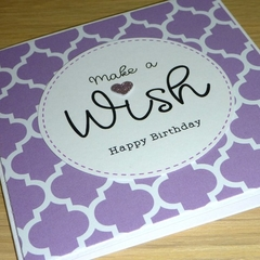 Female Happy Birthday card - Make a wish!