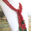 Genuine CORAL Chips, Red and Green Double String Long Necklace.
