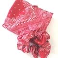 foldable eco bag + scrunchie set / RED - bandana / gift for mum / gift set