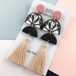 Polymer clay earrings, tassel statement earrings, monochrome black, white, blush