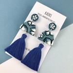 Polymer clay earrings, tassel statement earrings in blue floral