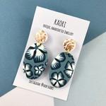 Polymer clay earrings, teardrop statement earrings in blue floral