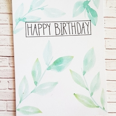 Birthday Card - Green leaves