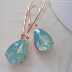 Seafoam Green Crystal Drops /Mint Crystal Earrings / Jade Swarovski Crystals /Ro