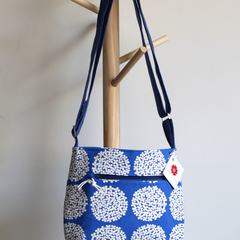 Satchel bag- blue and white flowers