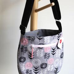 Satchel bag- grey floral Scandinavian print