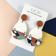 Polymer clay earrings, statement earrings in white, mint green and orange