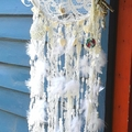 DreamCatcher White Lace Rustic Branch Nature Decor Shell Crystal Drusy Driftwood