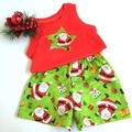 "Size 2 and 3 - ""Jolly Santa"" Christmas Shorts and Appliqued Singlet"
