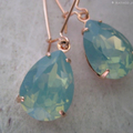 Seafoam Green Crystal Drops /Mint Crystal Earrings / Jade Swarovski Crystals /Ro