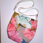 Satchel bag- pink floral cotton and linen