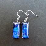 Earrings, hand painted,   stainless steel drop