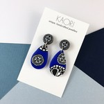 Polymer clay earrings, statement  earrings in blue, black and white floral