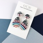 Polymer clay earrings, statement  earrings in rainbow stripes and spots