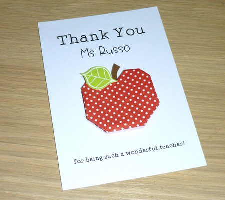 Personalised Thank you Teacher card - Origami Apple