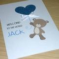 Baby Boy congratulations card - teddy bear