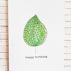 Birthday card - whimsical leaf