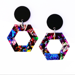 Rainbow Sparkling Kaleidoscope Dangles | Hexagon | Free Shipping Inc.